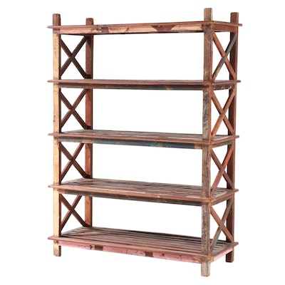 Reclaimed and Polychromed Hardwood Five-Tier Shelving Unit