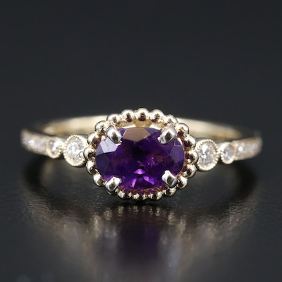 14K Amethyst and Diamond Ring with Milgrain Detail