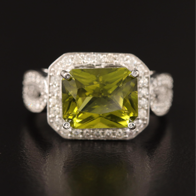 14K 3.51 CT Peridot and Diamond Ring