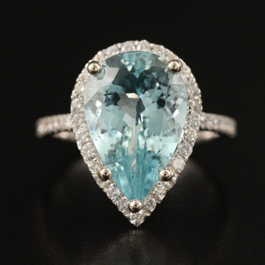 14K 4.41 CT Aquamarine and Diamond Teardrop Ring