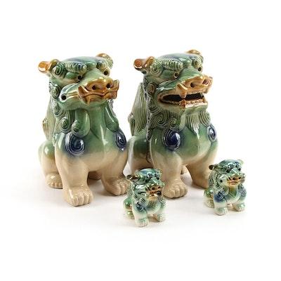 Chinese Style Sancai Glazed Ceramic Guardian Lion Figurines, Late 20th Century