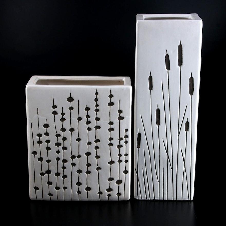 Sitcom Cattail and Grasses Motif Incised Rectangular Ceramic Vases