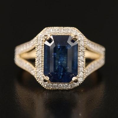14K 4.40 CT Sapphire and Diamond  Ring