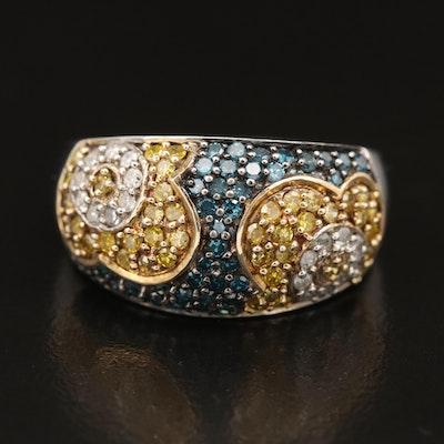 Sterling Silver Pavé Diamond Floral Dome Ring