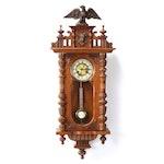 Viennese Regulator Alt Deutsch Style Walnut Clock with Eagle Finial