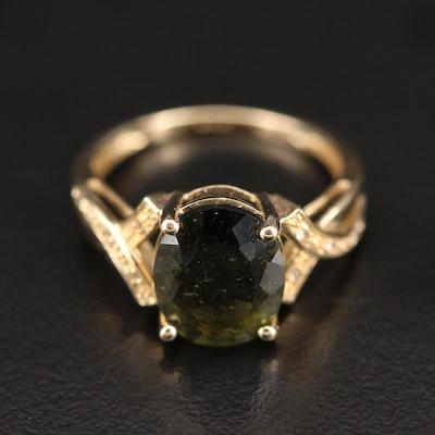9K Moldavite and Topaz Ring