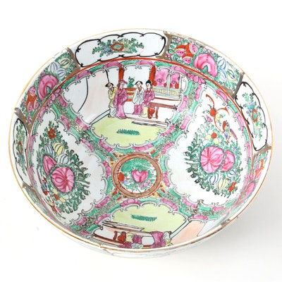 Chinese Rose Medallion Porcelain Centerpiece Bowl, Late 20th Century