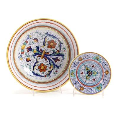 Deruta Italian Hand-Painted Majolica Serving Bowl and Small Bowl