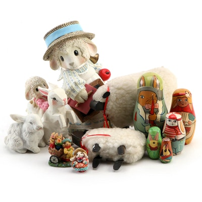 """Enesco """"Mary Had A Little Lamb"""" and Other Figurines, Late 20th Century"""