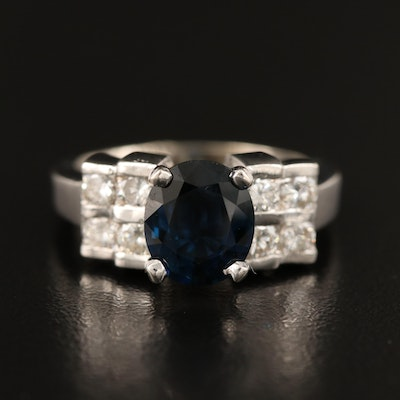 14K Diamond and 2.19 CTS Sapphire Ring