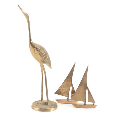Pair of Brass Sailboat Figurines and Crane Figurine, Mid to Late 20th Century