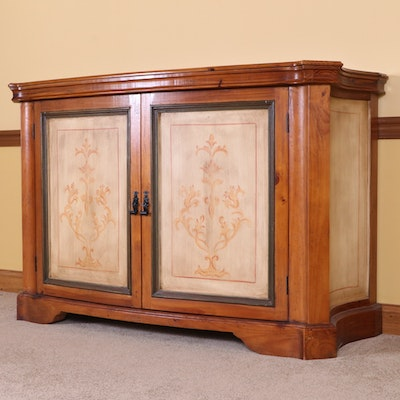 Arhaus French Provincial Style Stenciled Pine Bowfront Buffet