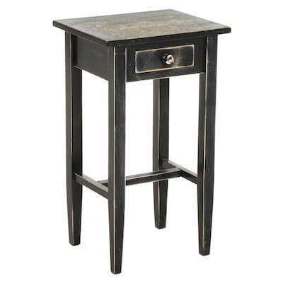 Primitive Style Painted Wood Single-Drawer Side Table