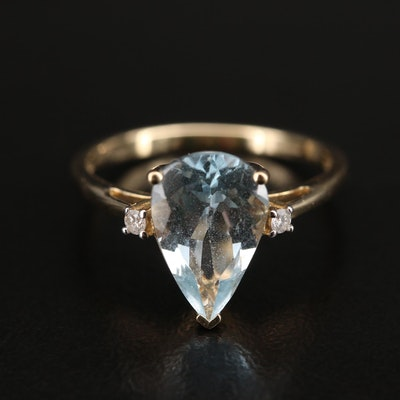 9K Aquamarine and Diamond Ring