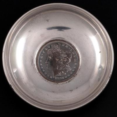 Baldwin & Miller Sterling Silver Bowl with Inset 1880 Morgan Dollar