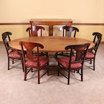 """Arhaus Reclaimed Wood Oval Table with an """"Arabesque"""" Iron Base and Six Chairs"""