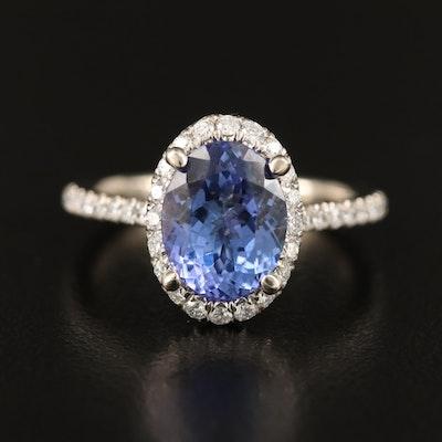 Gabriel & Co.14K 2.52 CT Tanzanite and Diamond Halo Ring