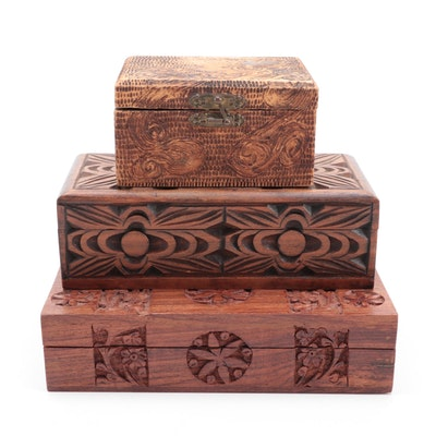 Flemish Art Co. Pyrography Trinket Box with Hand-Carved Hinged Wooden Boxes