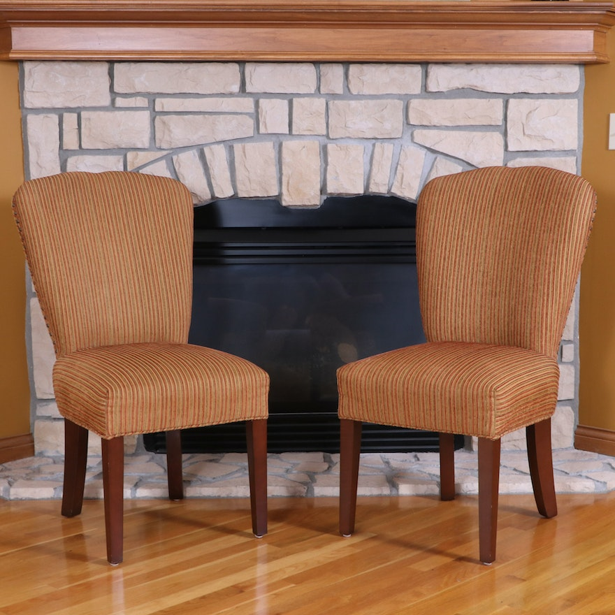 Pair of Arhaus Cambridge Collection Chenille Striped Upholstered Side Chairs