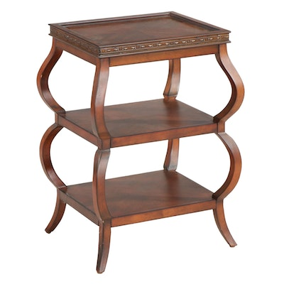 Contemporary Mahogany-Stained Tiered Serving Table