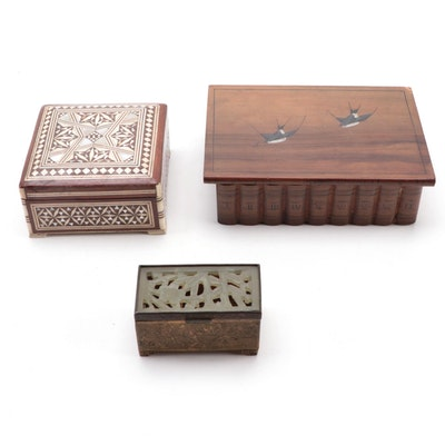 Chinese Brass Stamp Box with Carved Serpentine Lid, and More Decorative Boxes