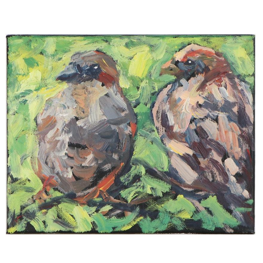 Elle Raines Acrylic Painting of Birds