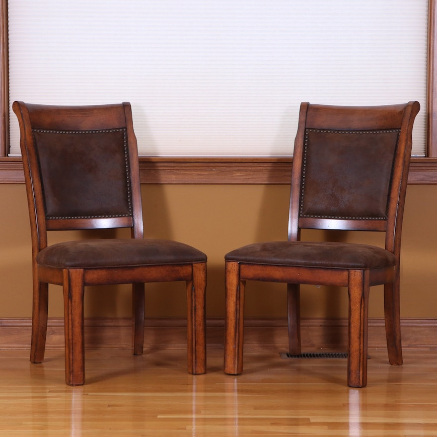 Pair of Markor International Faux Suede Dining Chairs with Nailhead Accents