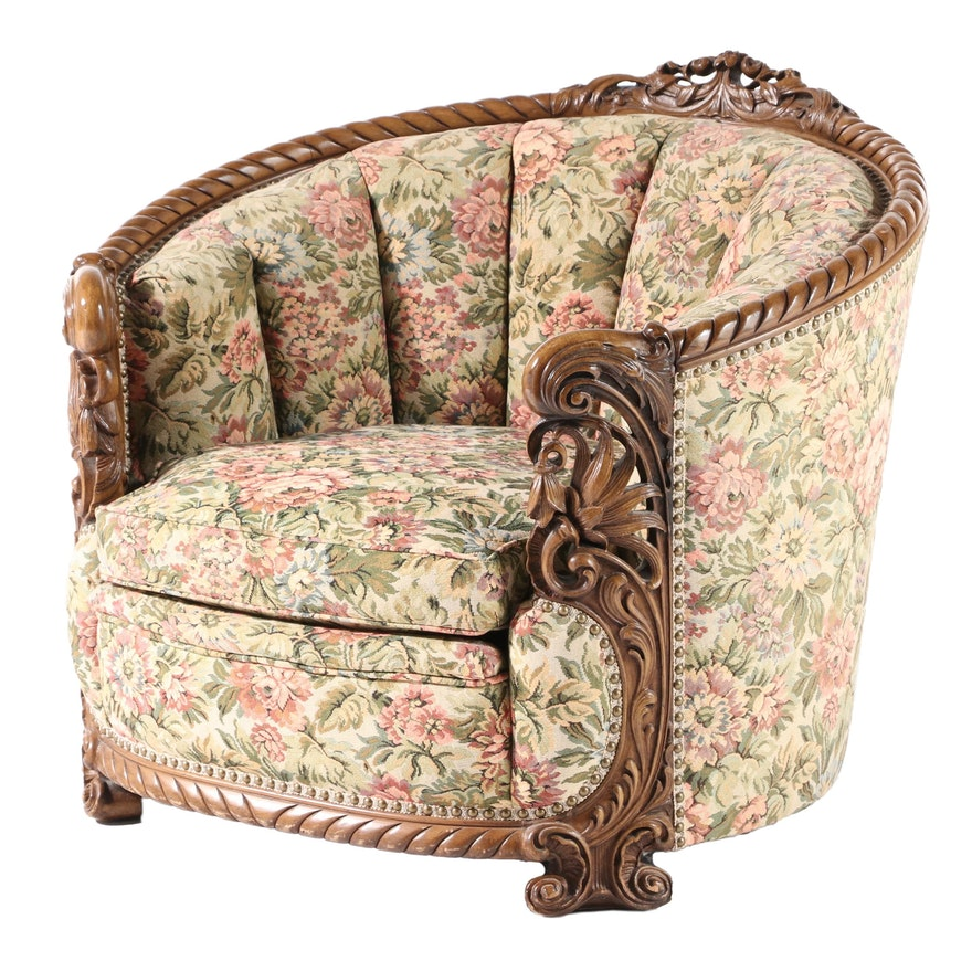 Rococo Style Floral-Upholstered and Brass-Tacked Channel-Back Armchair