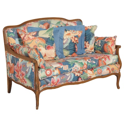 Louis XV Style Floral-Upholstered Love Seat Sofa, Late 20th Century