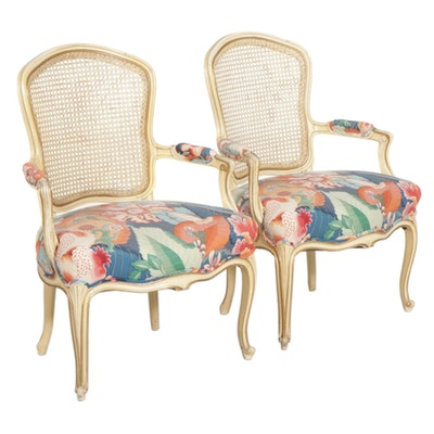 Pair of Louis XV Style Cream-Painted Cane Back Fauteuils