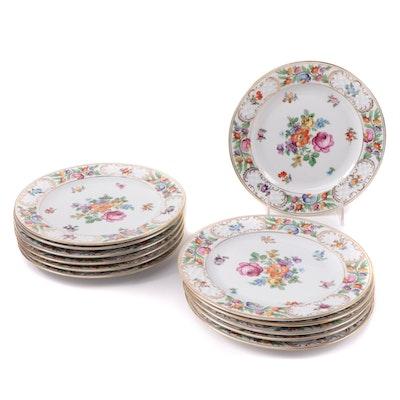 "Schumann Arzberg ""Dresdner Art"" Porcelain Botanical Salad Plates, Early 20th C."