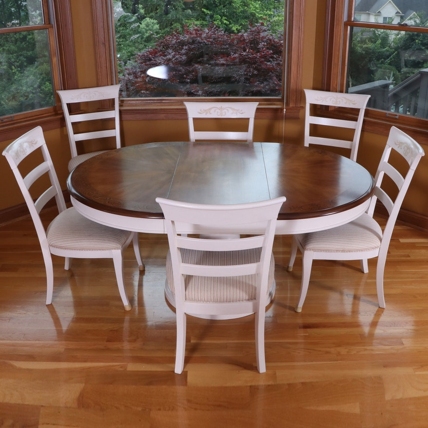 A.R.T. Furniture Two-Tone Painted Wood Pedestal Table and Ladder Back Chairs