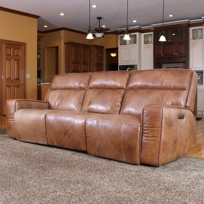 American Signature Leather Power Reclining Three-Seat Sofa