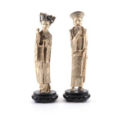 Chinese Hand-Carved Resin Emperor and Empress Figurines