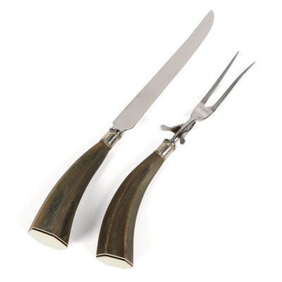 HSB & Co. Horn and Stainless Steel Carving Set, Mid to Late 20th Century