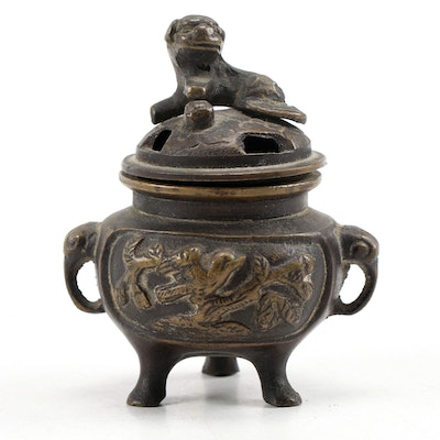 Chinese Miniature Brass Censer with Guardian Lion Finial