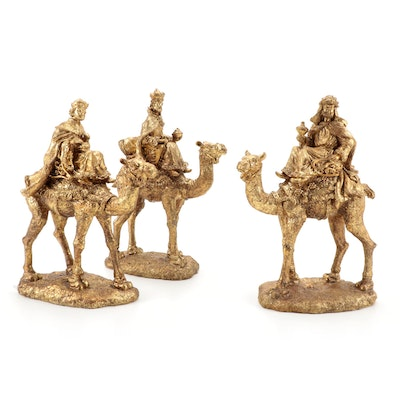 Gold Painted Resin Three Wise Men Figurines