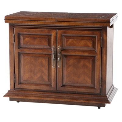 Dixie French Provincial Style Oak and Black Laminate Flip-Top Buffet