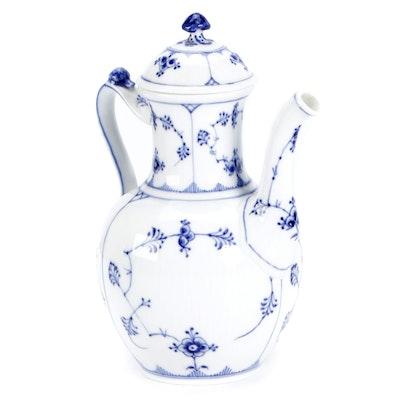 """Royal Copenhagen """"Blue Fluted Half Lace"""" Porcelain Coffee Pot"""