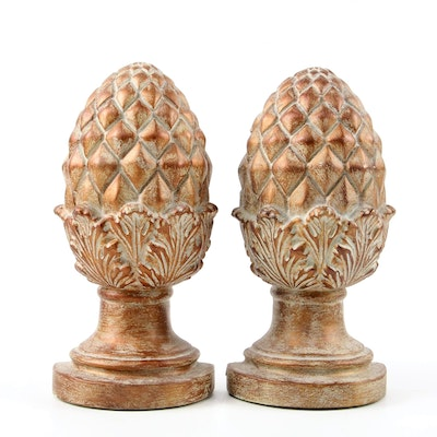Pair of Melannco Composite Pineapple Finial Bookends