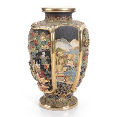 Japanese Satsuma Earthenware Vase with Raised Decoration, Mid-20th Century
