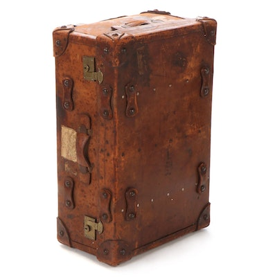 Leather Steamer Trunk Suitcase