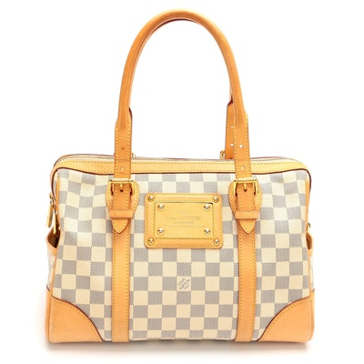 Louis Vuitton Berkeley Bag in Damier Azur Canvas and Vachetta Leather