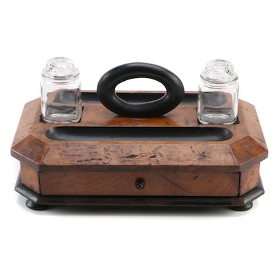 Burl Walnut Double Inkwell Desk Tray, Mid to Late 19th Century