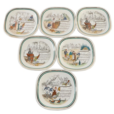 Parry Vieille Opera Scenes Limoges Porcelain Bread and Butter Plates