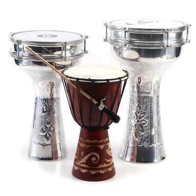 Hand-Hammered Aluminum Darbuka Drums by Meinl and Sala Muzik, Djembe Drum