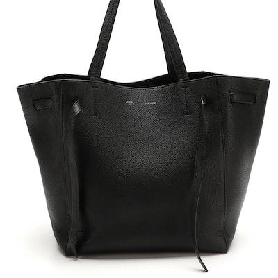 Céline Drawstring Tote Bag in Black Pebble Grain Leather