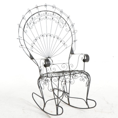 John Salterini Wrought Iron Peacock Rocking Chair, Mid-20th Century