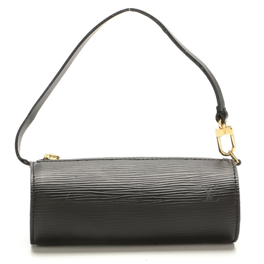 Louis Vuitton Soufflot Pochette in Black Epi and Smooth Leather