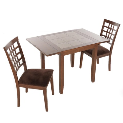 Contemporary Drop Leaf Wood and Tile-Top Table with Two Chairs